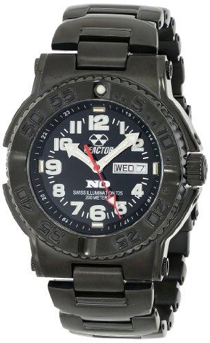 REACTOR Herren 59501 Trident niemals dunkel schwarz Zifferblatt schwarz Nitrid Plated Sport Watch