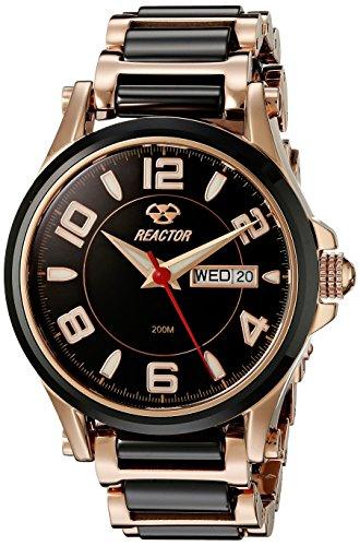 REACTOR 69101 Damen Spannungsfreie Stahl bicolor Armband Band Schwarz Zifferblatt Armbanduhr