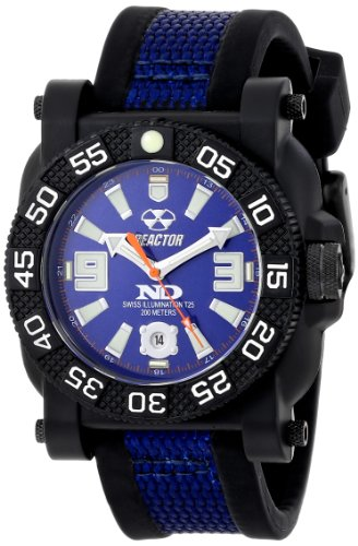 Reactor 73803 Herren Stahl Kerngehaeuse Schwarz NitromidTM Polymer Band Gryphon Nie DarkTM Illumination Watch