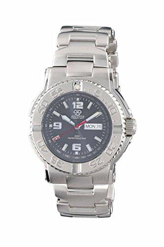 REACTOR 74610 Herren Spannungsfreie Stahl Silber Band Schwarz Zifferblatt Armbanduhr