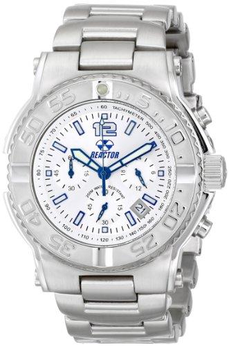REACTOR 75602 Herren Silber Armband Band Critical Mass Chronograph Weisse Zifferblatt Uhr