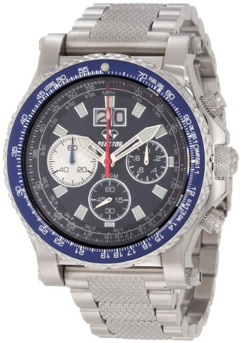 Reactor 81003 Mens Stainless Silver Bracelet Band Blue Dial Valkyre Chronograph Graves Super Luminova Illumination Watch