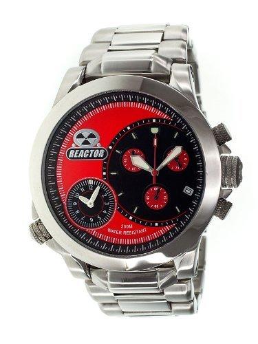 Reactor 85011 Edelstahl Armband Band rote Vorwahlknopf Chronograph analoge Uhr der Maenner