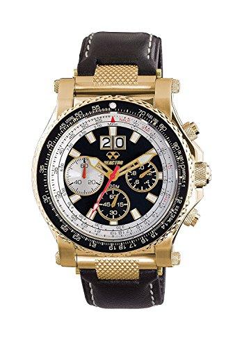 Reactor 81101 Herren Edelstahl Schwarz Lederband Schwarz Zifferblatt Valkyrie Chronograph Gold Smart Watch