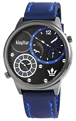 King Star XXL Armbanduhr blaue Leder Dual Time