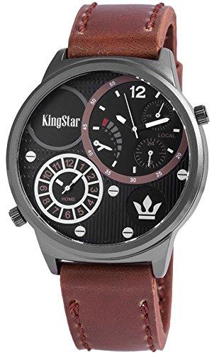 King Star XXL Armbanduhr braune Leder Dual Time