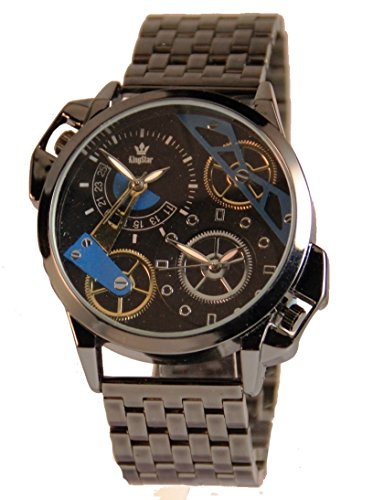 Schwarze XXL Herren Dual Time Armbanduhr grosse KingStar