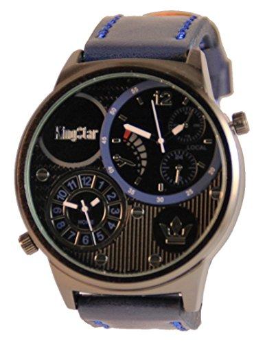 Schwere XXL Herren Leder Armbanduhr grosse KingStar Dual Timer Blau