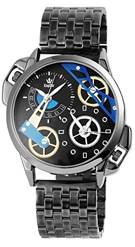 King Star schwere XXL 2 Zeitzonen Armbanduhr Edelstahl Dual Time