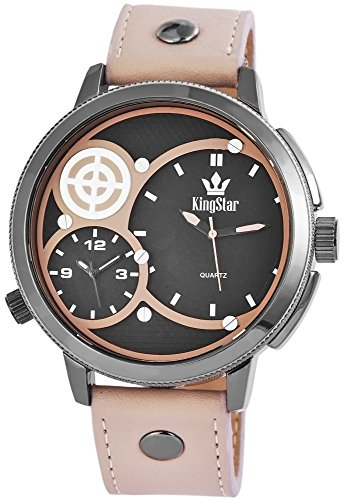 King Star XXL 2 Zeitzonen Dual Time Leder