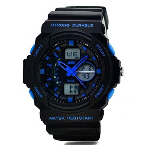 HandLifeTMMulti-Funktions-wasserdichte Digital LCD Alarm Date Mens Military-Sport-Handgelenk-LED Blue