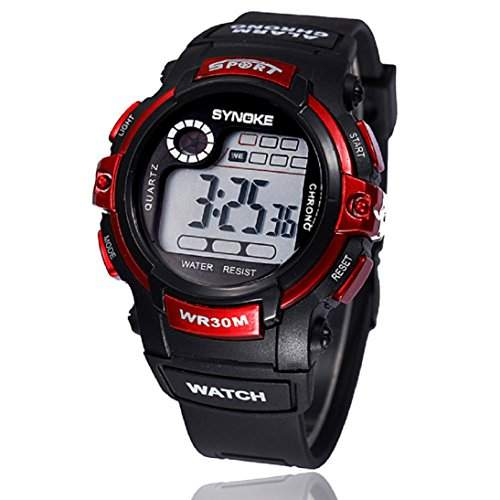 HandLifeTMMultifunktions-Boy Digital LED Quartz Alarm Date Sports wasserdichte Armbanduhr Red
