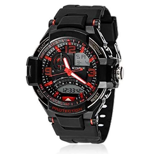 HandLifeTMMaenner Sports Armbanduhren Quarz Analog Digital LED wasserdichte Schwimmen-Uhr Red