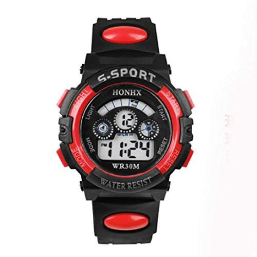 HandLifeTMWasserdichte Kinder Junge Digital LED Quartz Alarm Date Sport-Armbanduhr Red