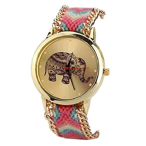 Qaintter56 Frauen waehlen Sehen; Elefant Muster gewebt Seil Armband Quarz beobachtenhot pink