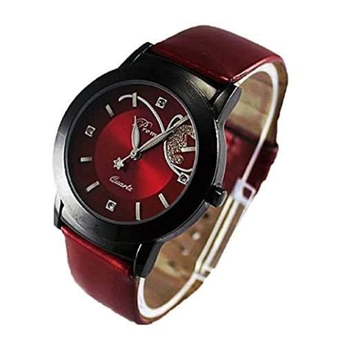 Qaintter56 Frauen Uhr; Luxus Diamant Quarz Armbanduhr Rot