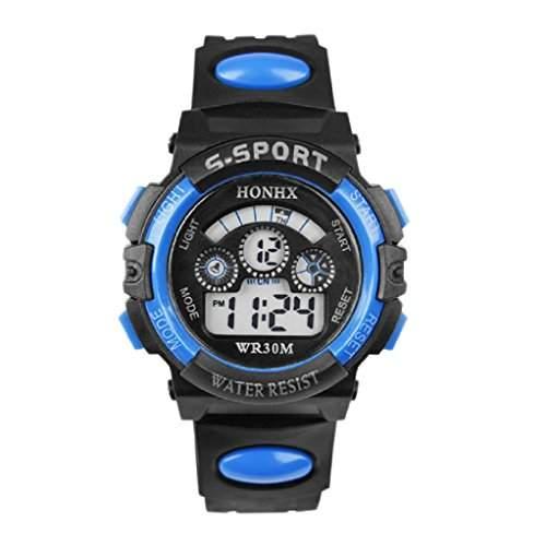 Tonsee Armbanduhr für Kinder  Jungen, wasserdicht, sportlich, Digital, Quarz, LED, Alarm, Datum