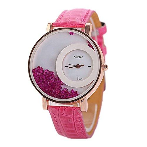Tonsee Leger bunten Sand Damen Frauen Armbanduhren PU Leder Armband Studentinnen Uhren hot pink