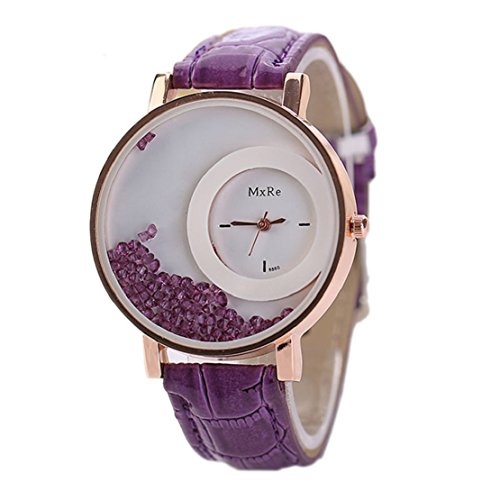 Tonsee Leger bunten Sand Damen Frauen Armbanduhren PU Leder Armband Studentinnen Uhren lila