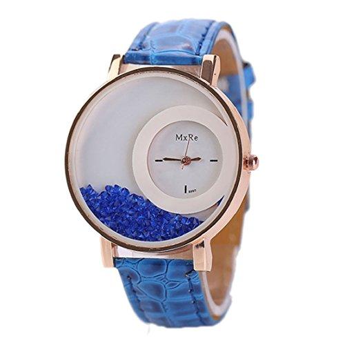 Tonsee Leger bunten Sand Damen Frauen Armbanduhren PU Leder Armband Studentinnen Uhren Blau