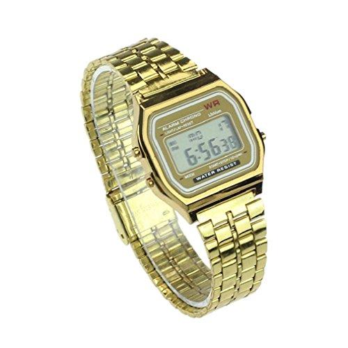 Tonsee Alte Frauen Maenner Edelstahl Digital Alarm Stoppuhr Armbanduhr gold
