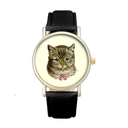 Tonsee Frauen Katze Muster Analog elegante Sport PU Leder Armband Quarz Vogue Armbanduhr Schwarz