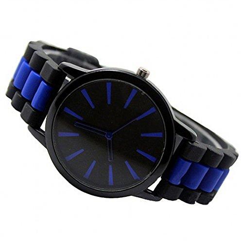 Tonsee Frauen Maenner einfach Silikon Band Jelly Gel Quarz Analog Unisex Sport Armbanduhr blau