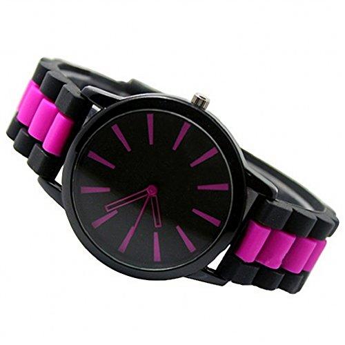 Tonsee Frauen Maenner einfach Silikon Band Jelly Gel Quarz Analog Unisex Sport Armbanduhr hot pink