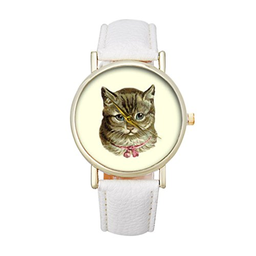 Tonsee Frauen Katze Muster Analog elegante Sport PU Leder Armband Quarz Vogue Armbanduhr Weiss
