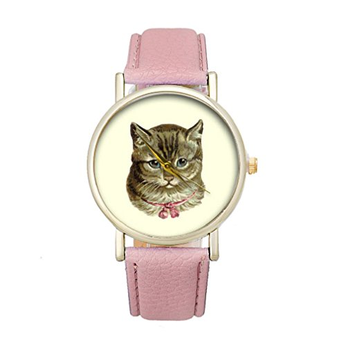 Tonsee Frauen Katze Muster Analog elegante Sport PU Leder Armband Quarz Vogue Armbanduhr rosa