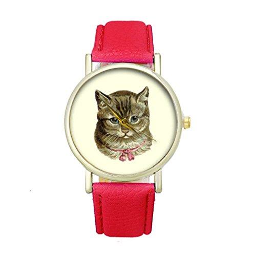Tonsee Frauen Katze Muster Analog elegante Sport PU Leder Armband Quarz Vogue Armbanduhr rot