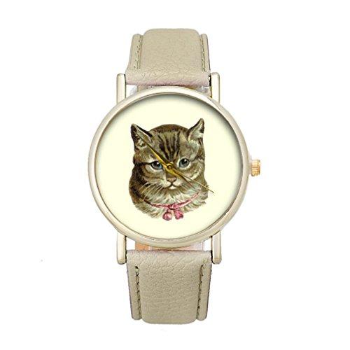 Tonsee Frauen Katze Muster Analog elegante Sport PU Leder Armband Quarz Vogue Armbanduhr beige
