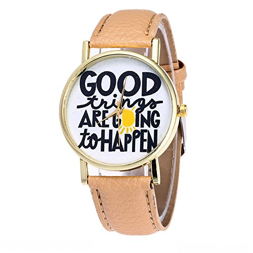 Tonsee GOOD thing ARE going to HAPPEN Candy Farbe Maennliche Weibliche Armbanduhren Khaki