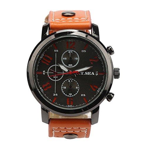 Tonsee Maenner Sport Quarz Luxus PU Leder Armbanduhren Orange