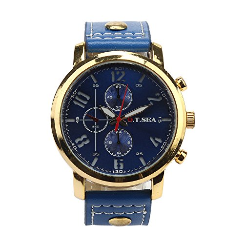 Tonsee Maenner Sport Quarz Luxus PU Leder Armbanduhren Blau