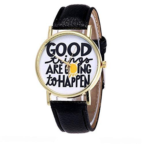 Tonsee GOOD thing ARE going to HAPPEN Candy Farbe Maennliche Weibliche Armbanduhren Schwarz