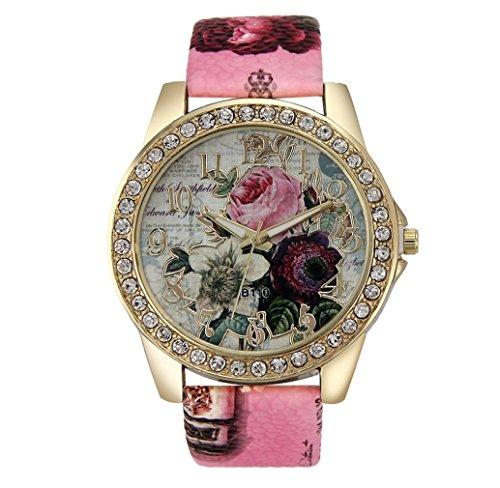 Tonsee Mode Rose Muster PU Leder Band Analog Quarz Vogue Armbanduhren rosa