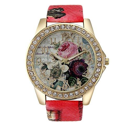 Tonsee Mode Rose Muster PU Leder Band Analog Quarz Vogue Armbanduhren rot