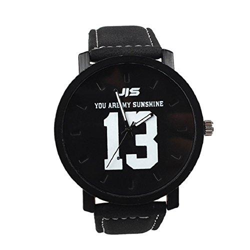 Tonsee Neue Mode heiss Verkauf Quarz Analog schwarz Kunstleder Band Armbanduhr mit Nummer 13 und 14 schwarz