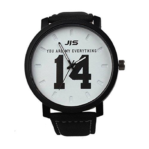 Tonsee Neue Mode heiss Verkauf Quarz Analog schwarz Kunstleder Band Armbanduhr mit Nummer 13 und 14 weiss