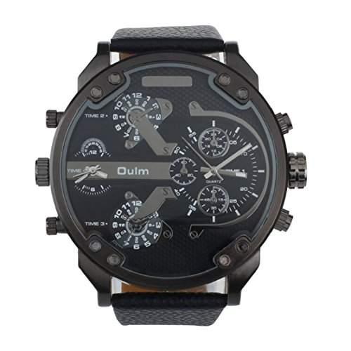 Tonsee Luxus Militaer Armee Dual Zeit Quarz grosse Dial Armbanduhr OULM Schwarz