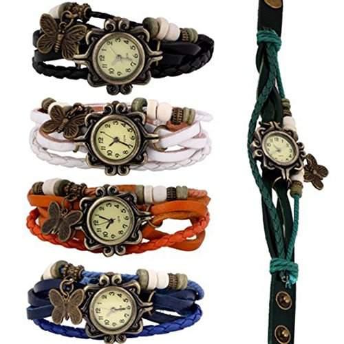 Tonsee neue Grosshandels 5X Maedchen der Frauen Schmetterlingsarmband Uhren