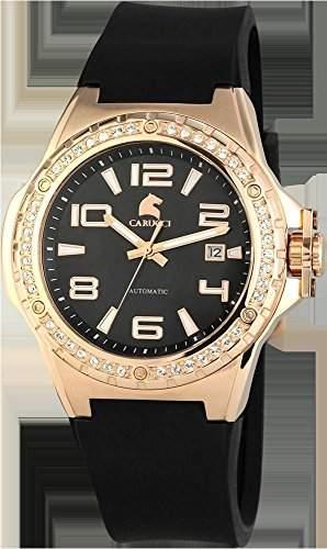 Carucci Watches Damen-Armbanduhr XL Analog Automatik Kautschuk CA2213RG-BK