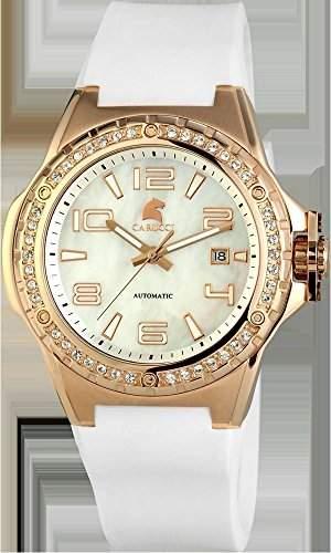 Carucci Watches Damen-Armbanduhr XL Analog Automatik Kautschuk CA2213RG-WH