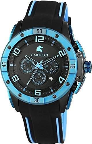 Carucci Watches Herren-Armbanduhr XL Analog Automatik Kautschuk CA2214BK-BL