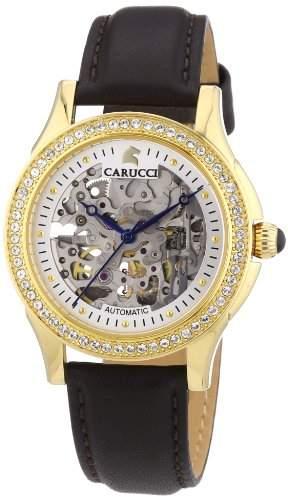 Carucci Watches Damen-Armbanduhr Analog Automatik Leder CA2212GD