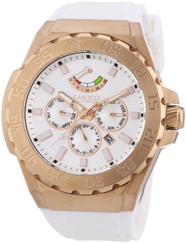 Carucci Watches Herren Armbanduhr XL Analog Automatik Kautschuk CA2204RG WH