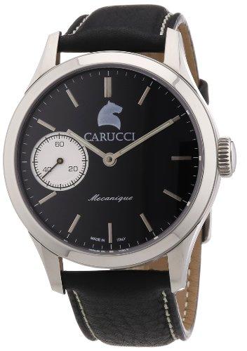 Carucci Watches Herren Armbanduhr XL Swiss Collection Analog Handaufzug Leder CA6628 BK