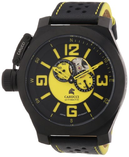 Carucci Watches Herren Armbanduhr XL Analog Automatik Leder CA2175B BK YL