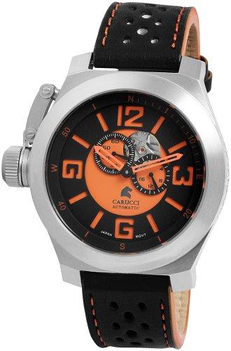 Carucci Watches Herren Armbanduhr XL Analog Automatik Leder CA2175BK OR